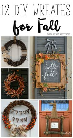 12 DIY Wreaths for Fall. Create your own diy fall wreath for your home with 12 great examples and tutorials! 12 DIY Wreaths for Fall. Create your own diy fall wreath for your home with 12 great exam Diy Home Crafts, Fall Crafts, Holiday Crafts, Holiday Fun, Decor Crafts, Diy Fall Wreath, Fall Diy, Fall Wreaths, Ribbon Wreaths