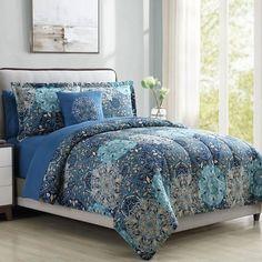 World Menagerie Lawrence Reversible Comforter Set Size: California King King Size Bedding Sets, Comforter Sets, Duvet, Bleu Pastel, Bed In A Bag, Decorative Pillow Cases, Fine Linens, Flat Sheets, Bed Sheets