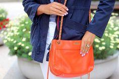 Pop of Orange! @RebeccaMinkoff swing bag.