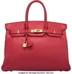 """Hermes 35cm Rouge Vif Courchevel Leather Birkin Bag with GoldHardware. Y Circle, 1995. Very Good Condition. 14"""" Width x1..."""