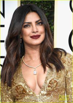 Priyanka Chopra Glitters in Gold at Golden Globes 2017