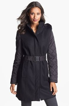 Kenneth Cole New York Faux Fur Trim Mixed Media Coat (Online Only) available at #Nordstrom