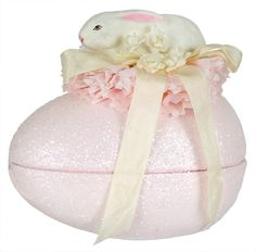 Bunny on Pink Glittered Egg Box by Bethany Lowe - Traditions