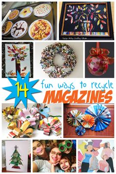 14 Ways to Recycle Old Magazines Into New Crafts. Check out the wreath!
