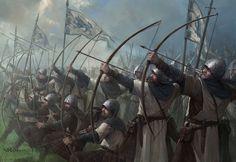 Stark Longbowmen by Stefan Kopinski Fantasy Battle, Fantasy Armor, Dark Fantasy, Fantasy Concept Art, Fantasy Character Design, Medieval Knight, Medieval Fantasy, Larp, Armadura Medieval