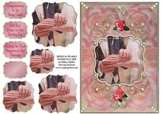 Roses Pearls Wedding Card on Craftsuprint designed by Hilary Hallas - An A5 wedding card front with pyramid layers and choice of sentiment tags featuring a hands shot of a wedding couple in a pretty gold and pearl frame with pink roses background. Matching insert available separately. - Now available for download!