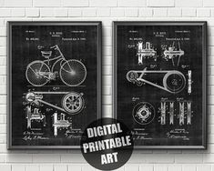 Items similar to Bicycle Patent Bicycle Print, Patent Prints, Printable Wall Art, Wall Decor, Printables, Bike, Unique Jewelry, Handmade Gifts, Etsy