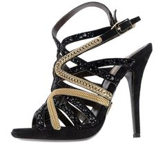 Pre-owned ROBERTO CAVALLI CRYSTAL and CHAIN EMBELLISHED SANDALS ($799) ❤ liked on Polyvore featuring shoes, sandals, heels, accessories, crystal embellished sandals, decorating shoes, chain sandals, crystal shoes and heeled sandals