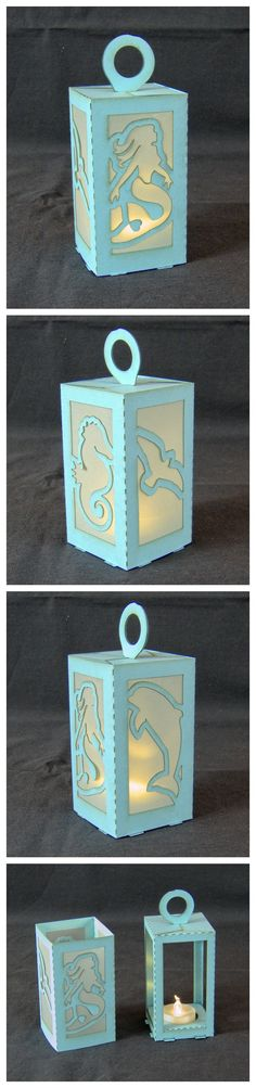 """I designed this lantern and made a few kits for the """"Mermaids & Ocean"""" theme exhibition in Cardigan's Guild Hall. #lasercut 160gsm paper"""