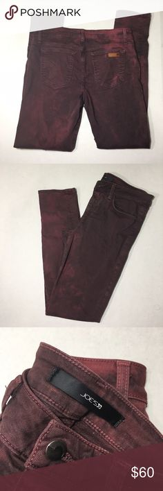 """Joe's Women's Maroon Distressed Bleach Skinny Jean Excellent used condition, no issues on the bottom or stains or rips. There is a flaw on one of the back pockets where the stitching came loose (see photos). Size 30 in women's. Really cool bleached/Distressed look and popular maroon color. The """"Skinny Visionaire"""" fit. Very stretchy. Inseam: approximately 30"""". Joe's Jeans Jeans Skinny"""