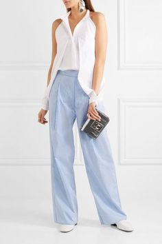 Georgia Alice - Perret Striped Cotton-poplin Wide-leg Pants - Blue