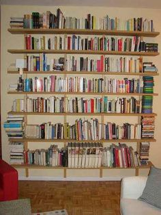 Found on Instructables.com, this is supposedly a Hungarian-style shelving unit. I like the idea of having a wall-to-wall shelving system for books, movies, manga, etc.