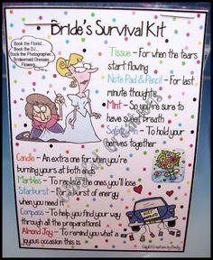 Bridal Survival Kit Check List Bride Wedding Jitters Shower Indian Makeup