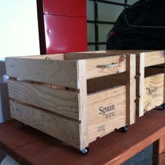Toy boxes for Elijah and Jack made from wine crates