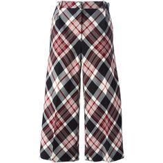 Alexander McQueen tartan cropped trousers featuring polyvore, women's fashion, clothing, pants, capris, bottoms, trousers, alexander mcqueen, black, wide leg cropped pants, crop pants, tartan trousers, tartan plaid pants and cropped capri pants