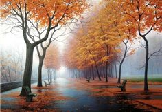 Everyone loves the view of autumn rain. So we had tried our best to make a beautiful autumn rain painting for you. Grab this Road after the Autumn Rain DIY Paint By Number Painting ASAP. Autumn Rain, Autumn Nature, Autumn Leaves, Nature Hd, Autumn Song, Fall Trees, Autumn Scenery, Diy Autumn, Maple Leaves