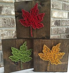 READY to SHIP Leaf String Art Set Fall String Art by TheTealHouse