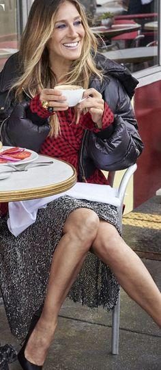 Sarah Jessica Parker in Jacket – Stella McCartney  Shoes – Sarah Jessica Parker  Ring – Marni  Skirt – Dion Lee