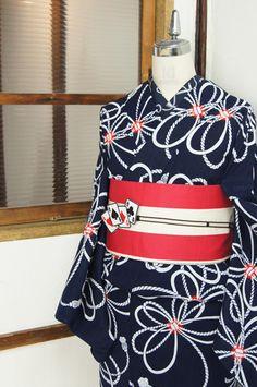 濃紺に白と赤が美しい結び紐文様和モダン注染レトロ浴衣 - アンティーク着物