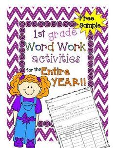 1ST GRADE WORD WORK ACTIVITIES FOR THE WHOLE YEAR! - FREE SAMPLE - TeachersPayTeachers.com