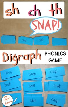 A fun consonant digraph activity, using sh, ch and th digraphs. This phonics game is hands on and active - great for teaching consonant digraphs to kindergarten, grade and Reception. It comes with free printable snap cards and a step by step guide of h Phonics Reading, Teaching Phonics, Kindergarten Reading, Kindergarten Activities, Teaching Reading, Reading Skills, Reading Activities, Reading Comprehension, How To Teach Phonics