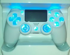 White PS4 Controller Custom Blue LED Mod [Strong Durable Thumbsticks]
