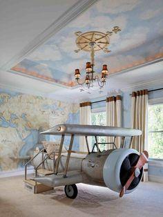 Chambre enfant & déco - Un lit très design, pour les garçon aventuriers. #avion