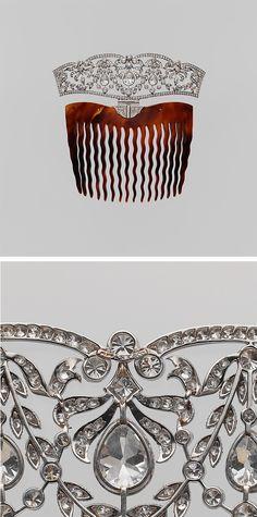Comb tiara, Tiffany & Co., ca. 1910, Tortoiseshell, platinum, diamonds, 4 1/8 x 4 1/4 in. (10.5 x 10.8 cm)