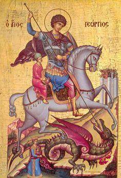 Saint George, patron saint of England, in a Medieval Byzantine Icon. Byzantine Icons, Byzantine Art, Catholic Saints, Patron Saints, Religious Icons, Religious Art, Patron Saint Of England, Saint George And The Dragon, Saint Georges