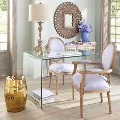 Home Office Design Ideas From The New Work Project Home Office Design, Home Office Decor, House Design, Home Decor, Office Ideas, Feminine Home Offices, Feminine Office, Glass Desk, Interiores Design