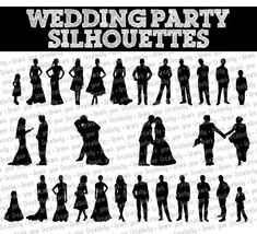wedding party silhouette clip art bridal party silhouette clip art rh pinterest com Wedding Party Intro silhouette wedding party clipart