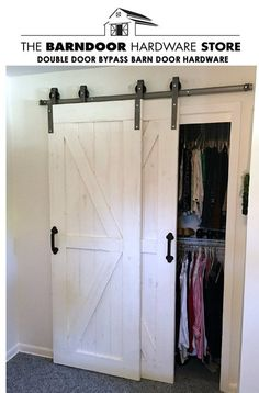 This Single Track Bypass Barn Door Hardware Kit allows two doors to over-lap eac. - This Single Track Bypass Barn Door Hardware Kit allows two doors to over-lap each other so they are - Bypass Barn Door Hardware, Rustic Hardware, Door Hinges, Door Latches, Window Hardware, Black Door Hardware, Barn Door Closet, Sliding Barn Closet Doors, Double Closet Doors