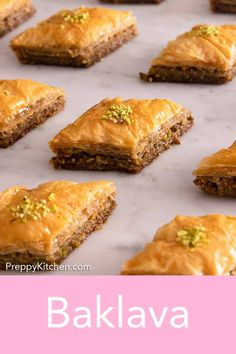 Made with layers of honey-soaked crispy, flakey phyllo and chopped nuts, this Baklava is a classic dessert that you will not be able to get enough of. It's the perfect make-ahead dessert that is perfect for any upcoming holidays or celebrations! Make Ahead Desserts, Delicious Desserts, Baking Recipes, Dessert Recipes, Dessert Ideas, Cobbler Topping, Baklava Recipe, Phyllo Dough, Roasted Nuts