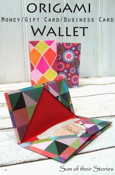 Lots of ideas to make a simple origami cash or gift card wallet from sum of their stories