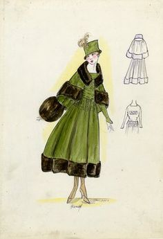 """Tailored suit, Doucet, Fall 1916. Dark green tea length coat, dark brown fur…"