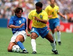 Brazil 0 Italy 0 (3-2 p) in 1994 in Pasadena. Paolo Maldini tackles Romario in the World Cup Final.