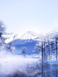 "In winter. Please visit my board ""Mt. Fuji Our Pride"". Enjoy repinning and follow it!!*-*."