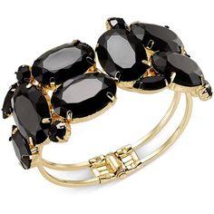 Thalia Sodi Gold-Tone Multi-Stone Hinge Bangle Bracelet ($7.99) ❤ liked on Polyvore featuring jewelry, bracelets, bracelet jewelry, hinged bangle, hinged bracelet, gold tone bangles and multi stone bracelet