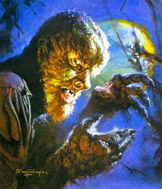 "Lon Chaney, Jr., as ""The Wolf Man"" by the legendary horror artist, Basil Gogos."