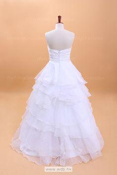 Pretty Satin Bodice Ruffled Sheer Organza Bottom Bow Wedding Dress