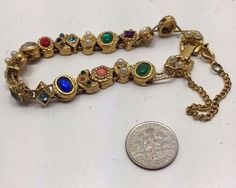 Rare Vintage Estate Victorian Style Charm Slide Bracelet Gold Tone Multi-Stone  | eBay