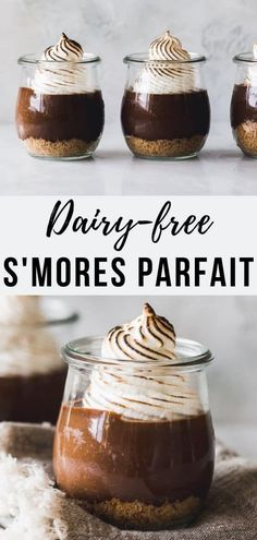 Dairy-free S'mores Parfaits - These decadent chocolate and marshmallow parfaits taste downright sinful, but are made with dairy-free chocolate pudding and healthier thanks to refined sugar swaps like Sugar Free Desserts, Gluten Free Desserts, Dairy Free Recipes, No Bake Desserts, Vegan Desserts, Delicious Desserts, Vegetarian Recipes, Chocolate Pudding Desserts, Decadent Chocolate