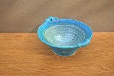 Vintage Irish Pottery Bowl. Handmade Aquamarine Blue Bowl with Fish Design. by GoldenGully on Etsy