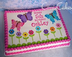Ideas For Birthday Cake Girls Square Square Birthday Cake, Birthday Sheet Cakes, Adult Birthday Cakes, Cake Birthday, Going Away Cakes, Pastel Rectangular, Sheet Cake Designs, Butterfly Birthday Party, Happy 5th Birthday