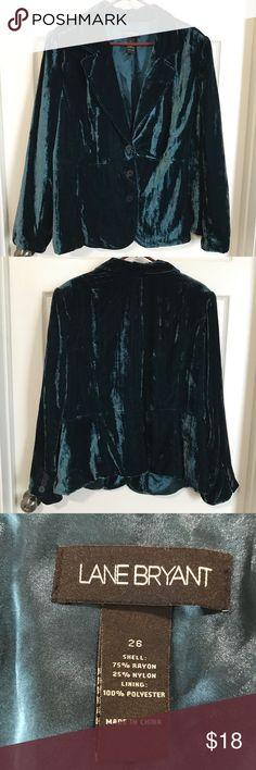 Lane Bryant velvety blazer Lane Bryant gorgeous velvety hunter green blazer. Excelente condition. 75% rayon 25% nylon lining. 100% polyester. Lane Bryant Jackets & Coats Blazers
