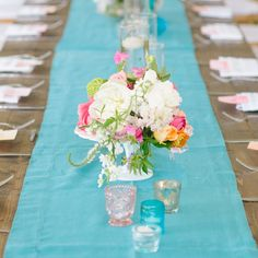 Turquoise Table Runner - photo by: Our Labor Of Love Event Planning: Ashley Baber Weddings Location: Barnsley Gardens Resort Rental Equipment: I Do Linens Centerpieces: amy osaba event.floral.design