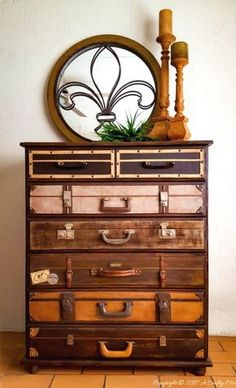 There's just something about a vintage stack of suitcases that I love. Come see how we gave a boring chest of drawers the look