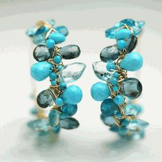 Turquoise Topaz Wire Wrapped Hoops