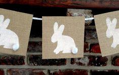 Burlap Easter Bunny Banner - free printable