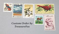 Reserved Custom Order for Christen. Unused Vintage US Postage Stamps for mailing wedding invitations by TreasureFox on Etsy